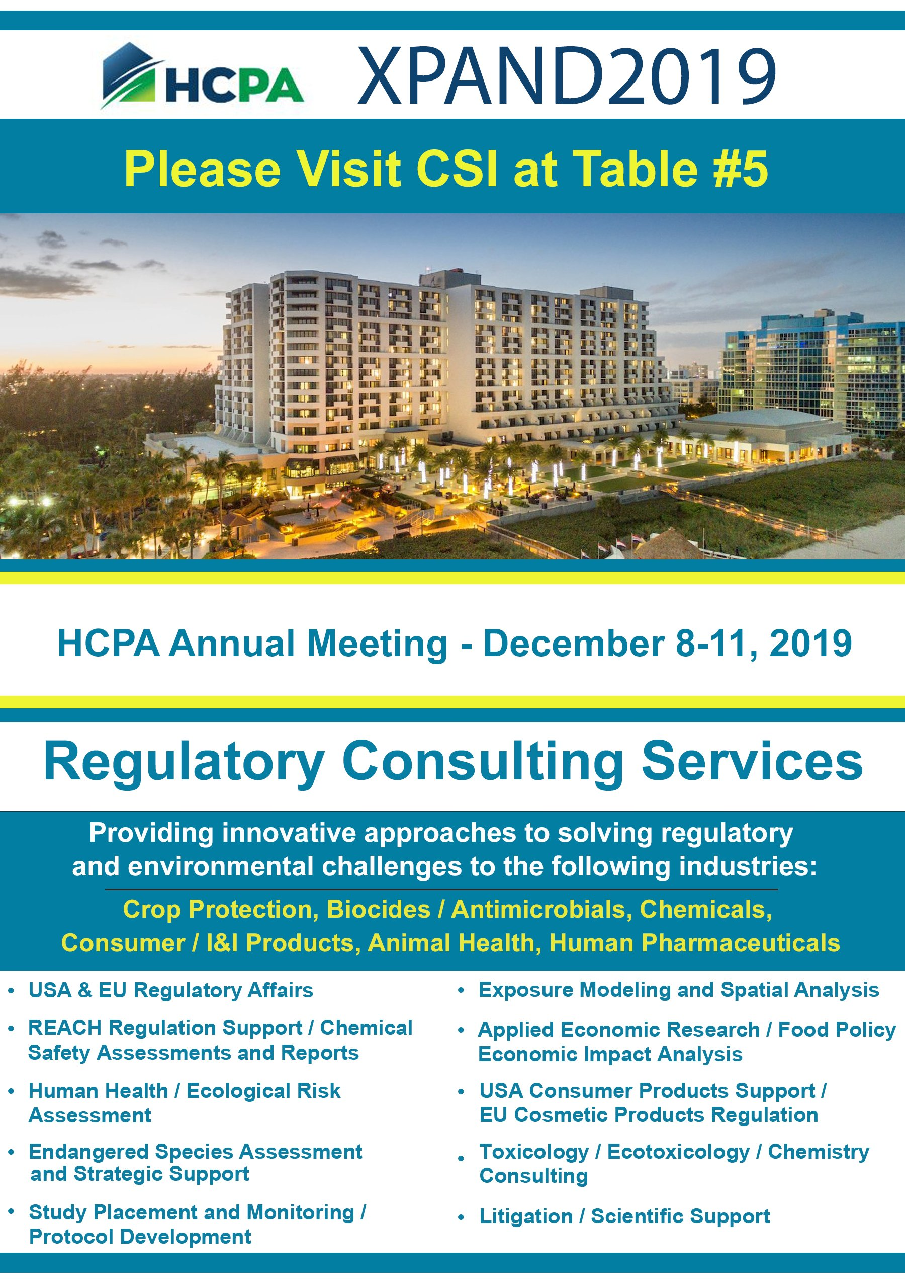 Household and Commercial Products Association (HCPA) Annual Meeting - December 8-11, 2019