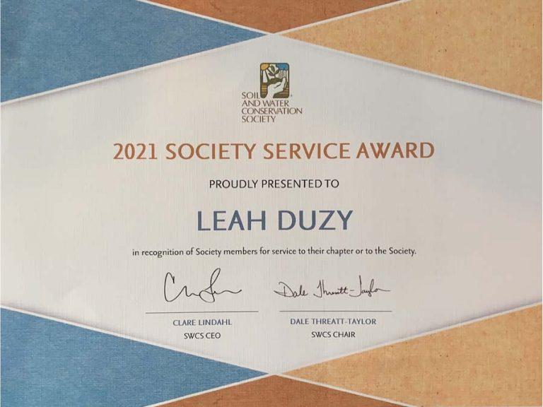 2021 SWCS Society Service Award for Leah Duzy