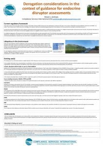 SETAC 2020 Poster Image Titled Derogation Considerations in the Context of Guidance for Endocrine Disruptor Assessments