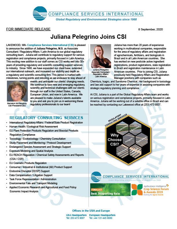 Press Release for Juliana Pelegrino