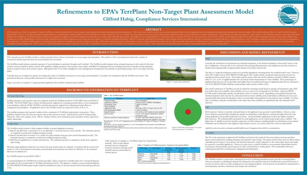 SETAC 2020 Poster Image Titled Refinements to EPA's TerrPlant Non-Target Plant Assessment Model