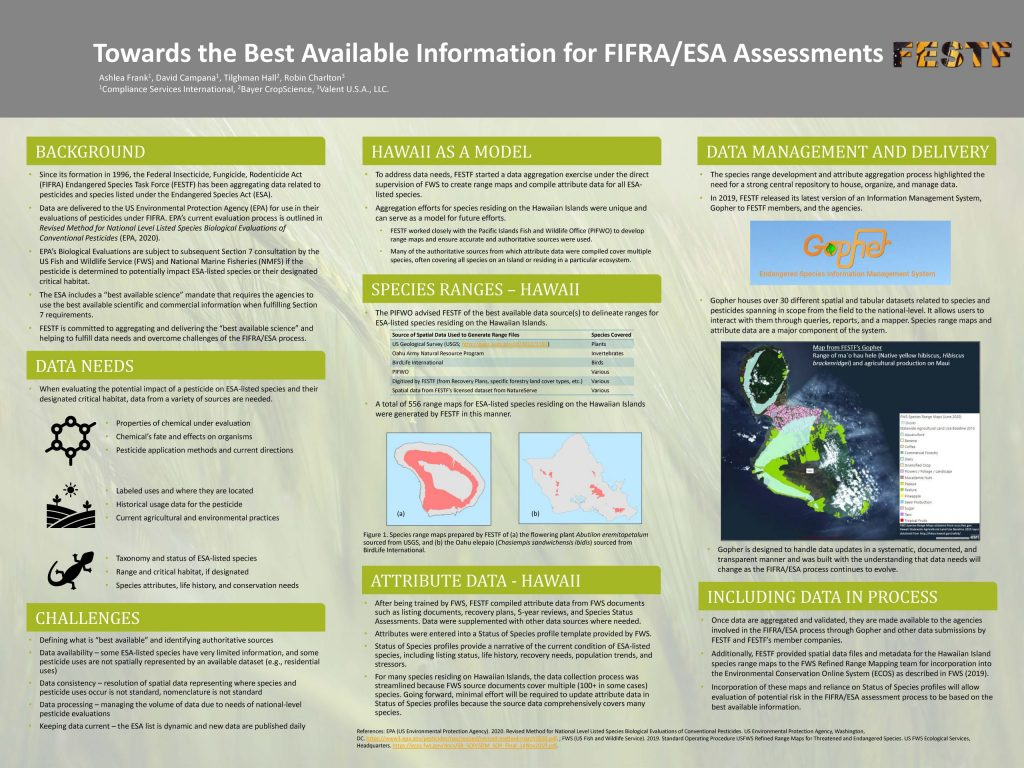 SETAC 2020 Poster Image Titled Towards the Best Available Information for FIFRA/ESA Assessments