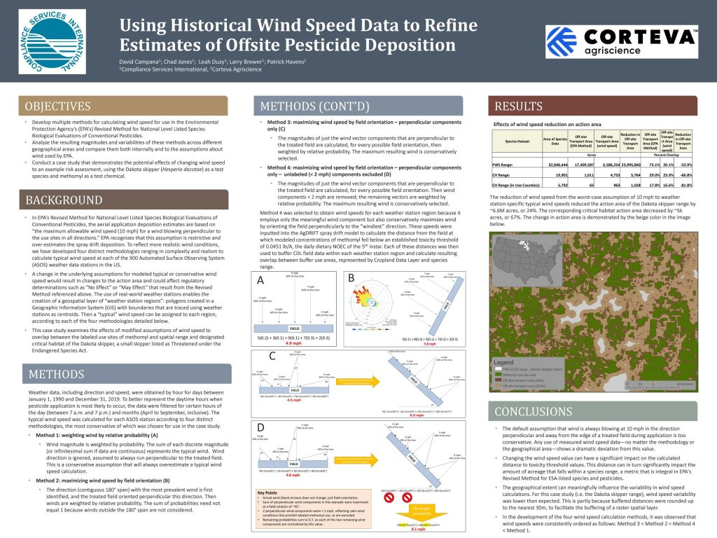 SETAC 2020 Poster Image Titled Using Historical Wind Speed Data to Refine Estimates of Offsite Pesticide Deposition